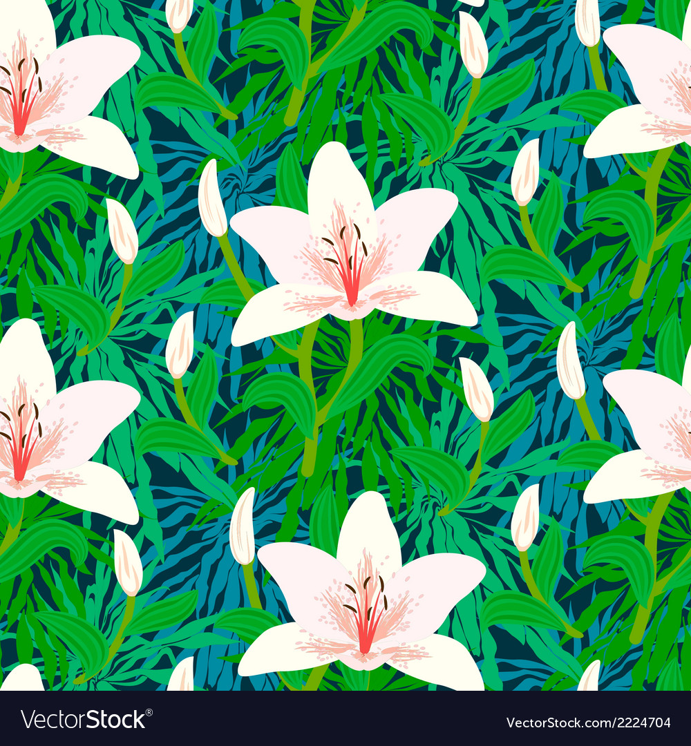 Floral pattern with tropical white lily flowers vector image izmirmasajfo