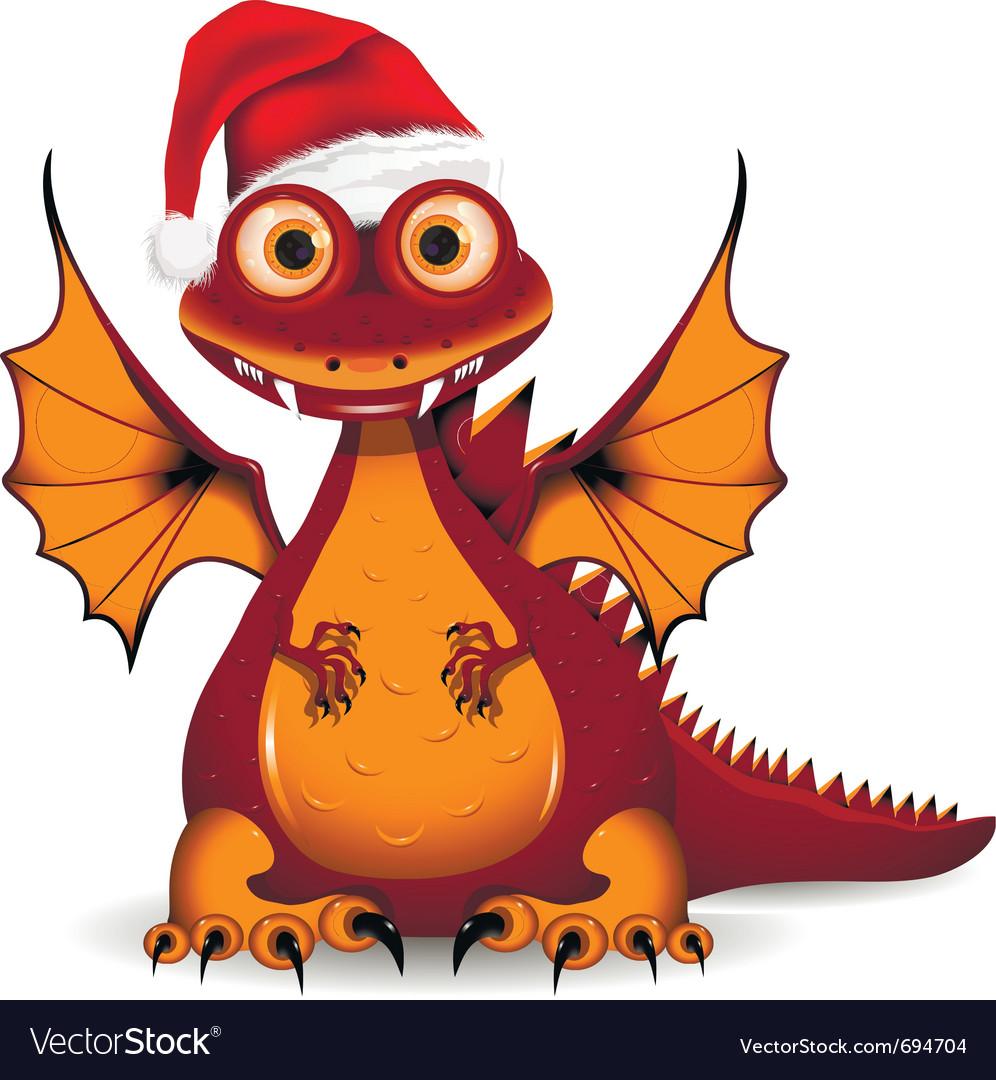 Funny dragon santa vector image