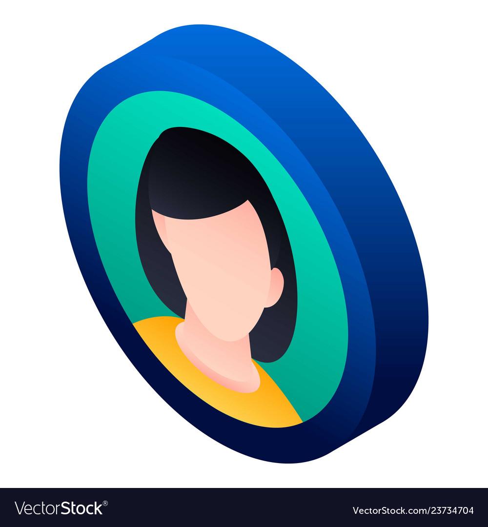 Girl avatar icon isometric style