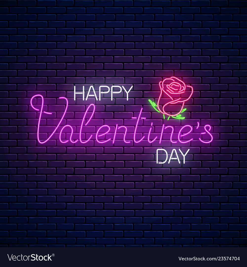 Glowing neon happy valentines day text with rose