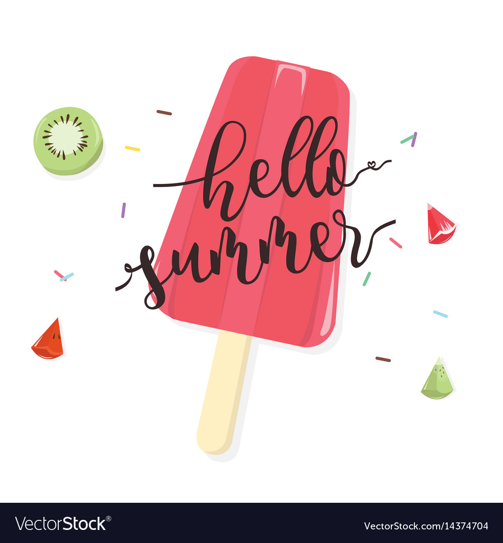 Hello summer with fruit popsicle on white