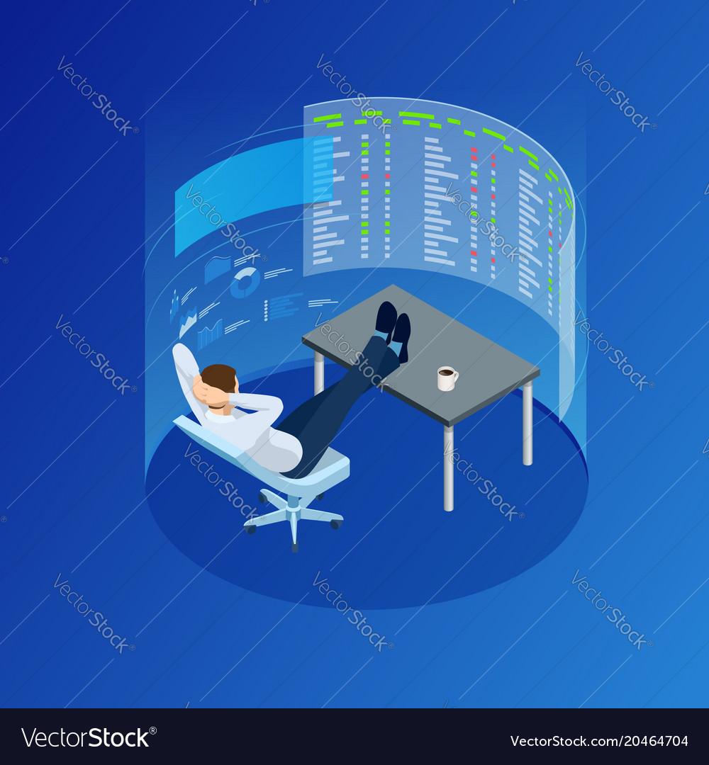 Isometric businessman trading stocks vector image