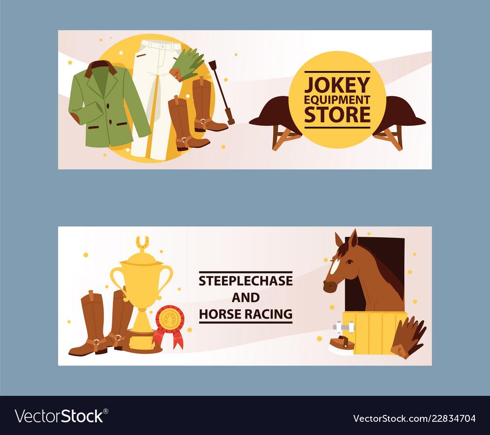 Jockey equipment store banner champion in horse