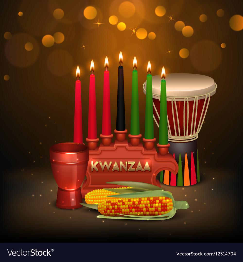 kwanzaa kinara background colorful composition vector image