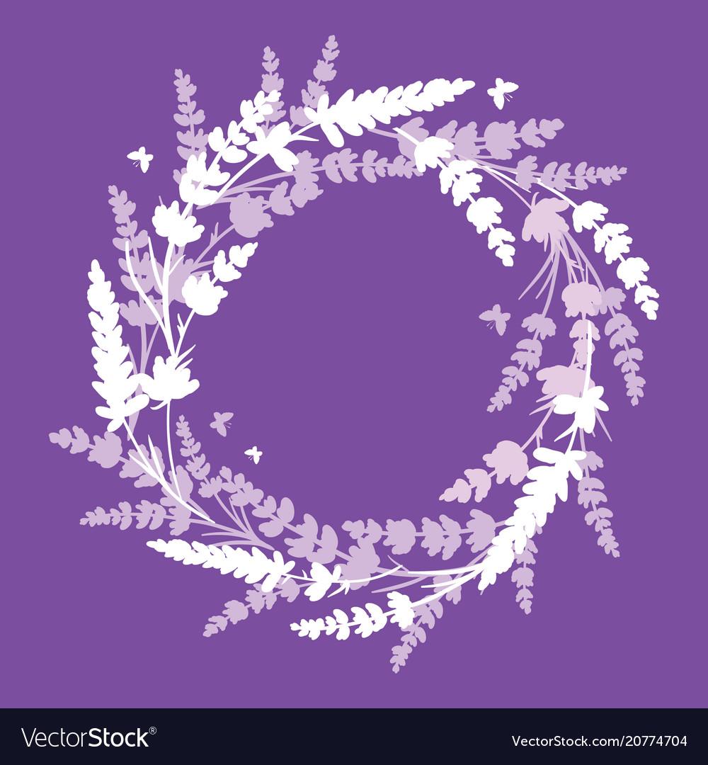 Lavender flowers wreath frame bouquet element