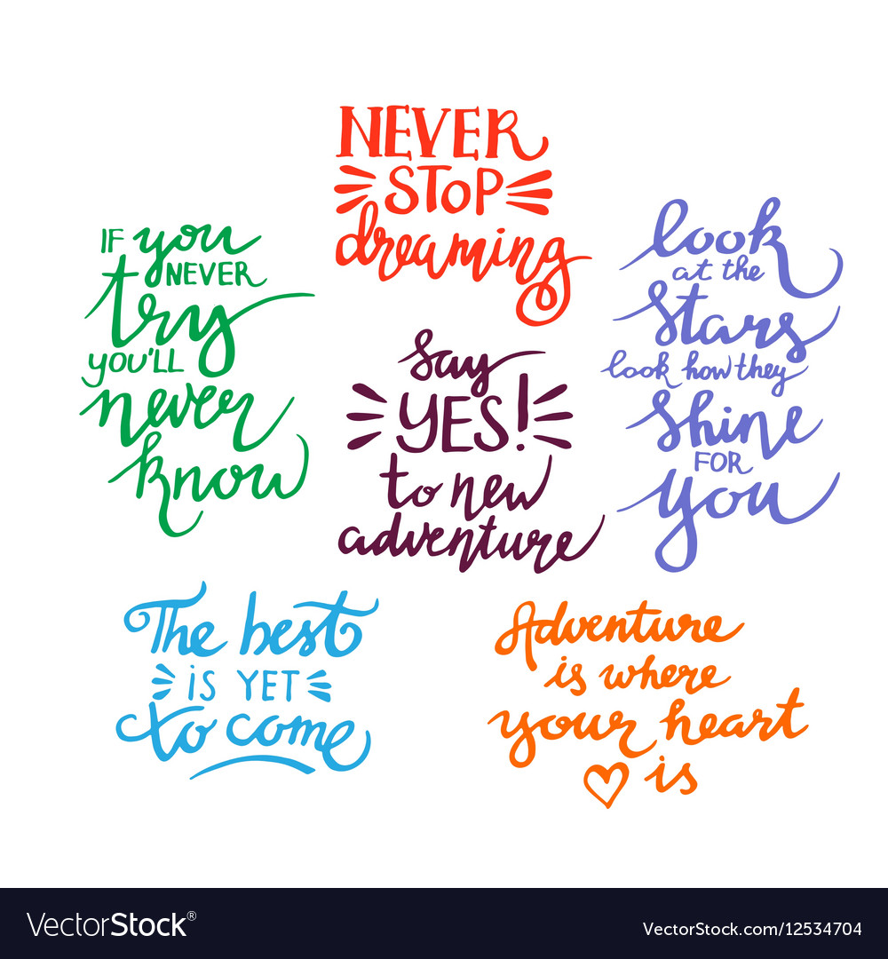 Postive Quotes | Lettering Positive Quotes Royalty Free Vector Image