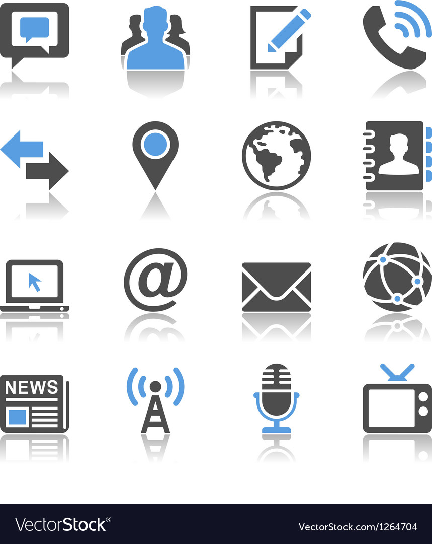 Media and communication icons reflection