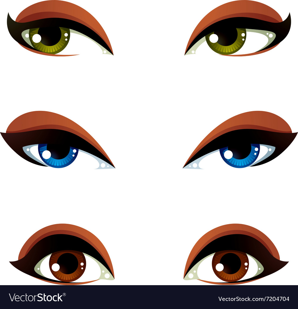 Set of blue brown and green eyes Female eyes