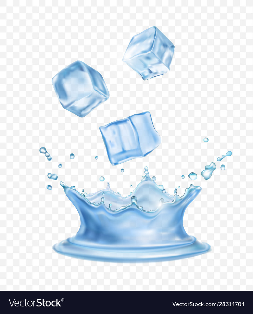 water crown splash and realistic ice cubes vector image vectorstock