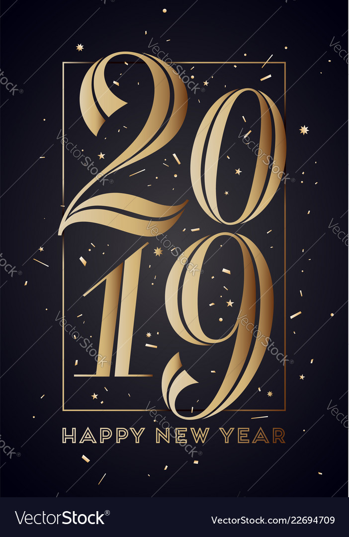 2019 happy new year greeting card with