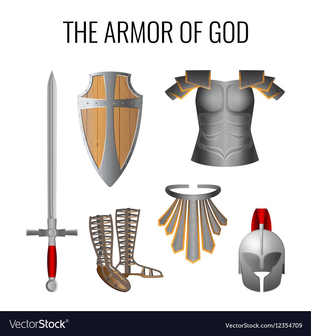 Armor of God elements set isolated on white