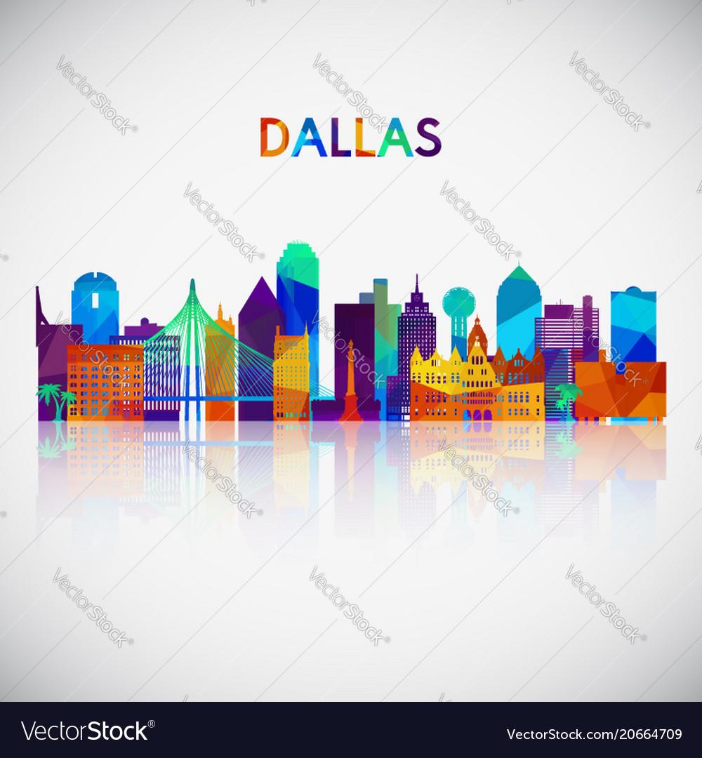 Dallas skyline silhouette in colorful geometric