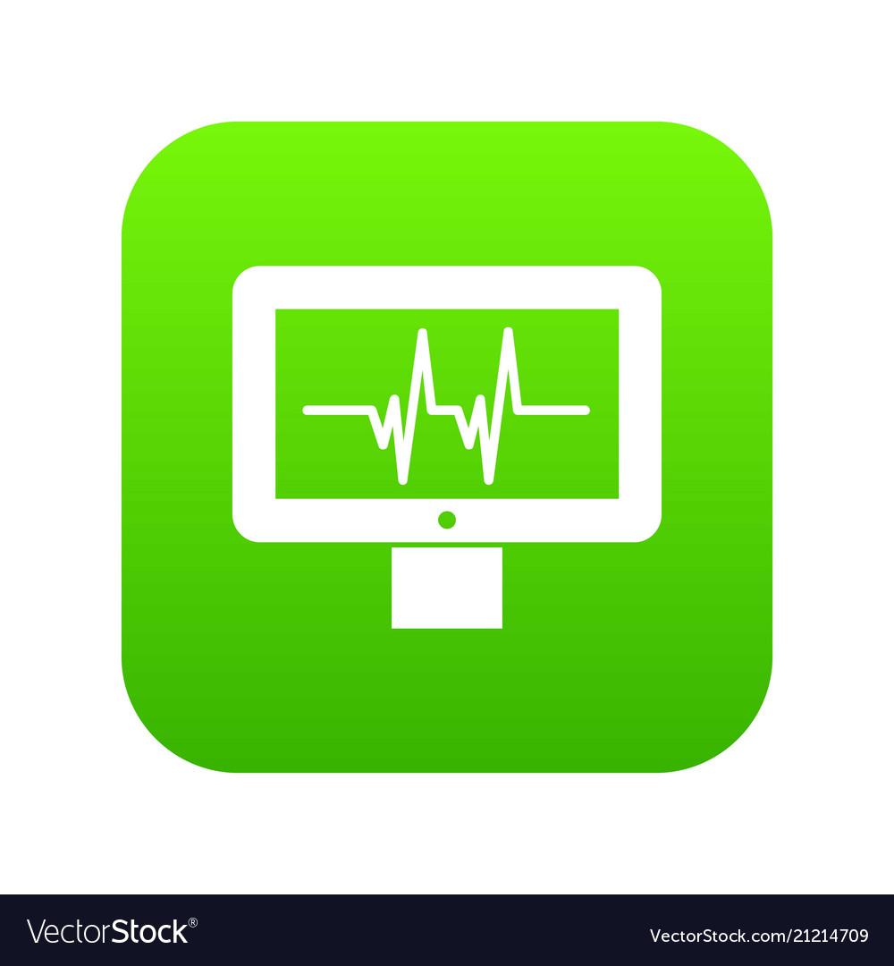 Electrocardiogram monitor icon digital green
