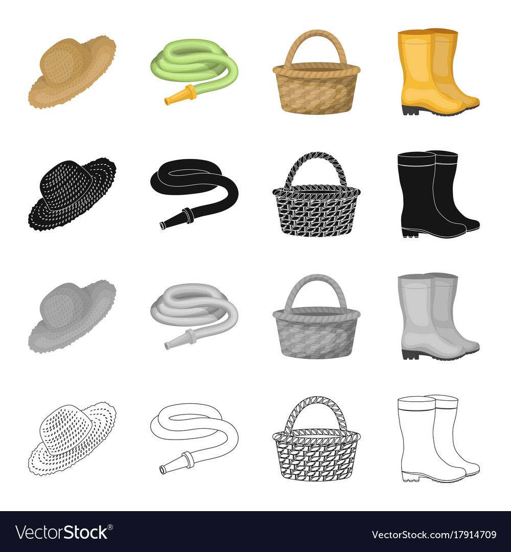 Farm hat watering hose basket rubber boots Vector Image b1bf66f30d4e