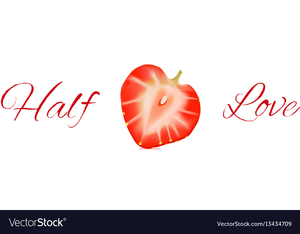 Half of red strawberry isolated on white