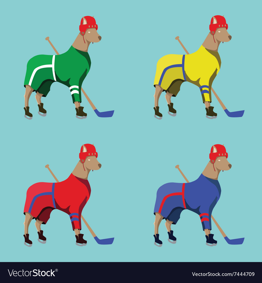 Hockey Dogs Mascots in Colorful Sportswear