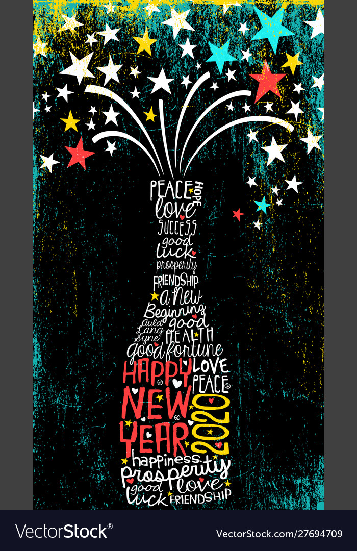 Inspiring happy new year 2020 champagne bottle