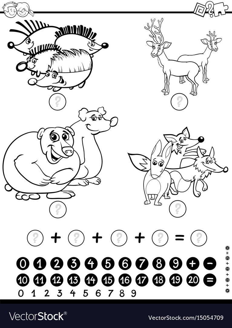 Maths Worksheet For Coloring Royalty Free Vector Image
