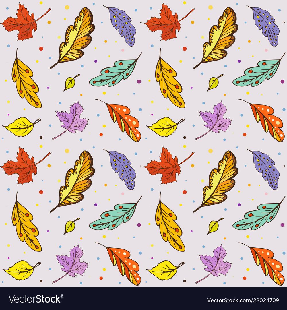 Pattern doodle autumn leaves