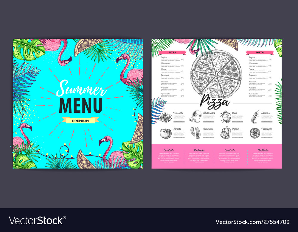 Restaurant Summer Pizza Menu Design Royalty Free Vector