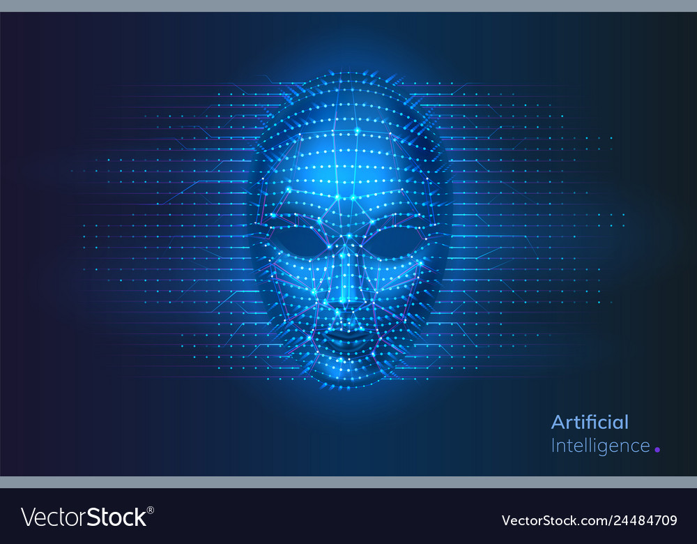 Robot or artificial intelligence ai cyber face