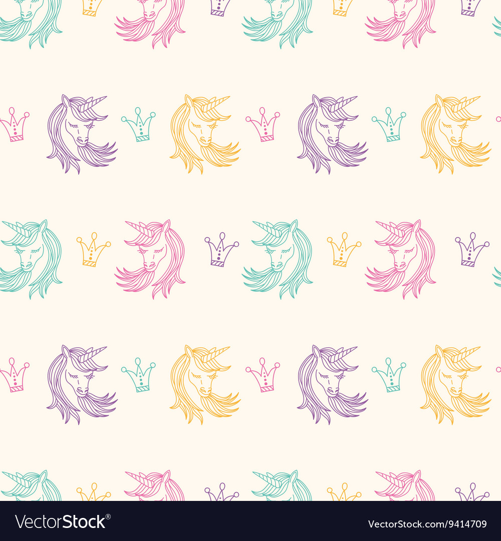 Seamless Pattern with Unicorns Fantasy Fairytale