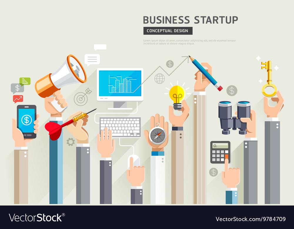 Set of business hands services
