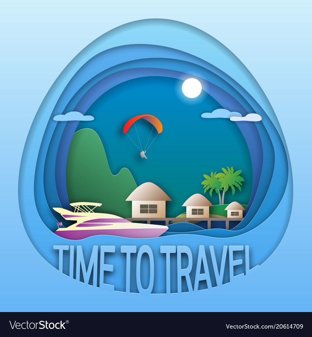 Time to travel emblem template sea resort with
