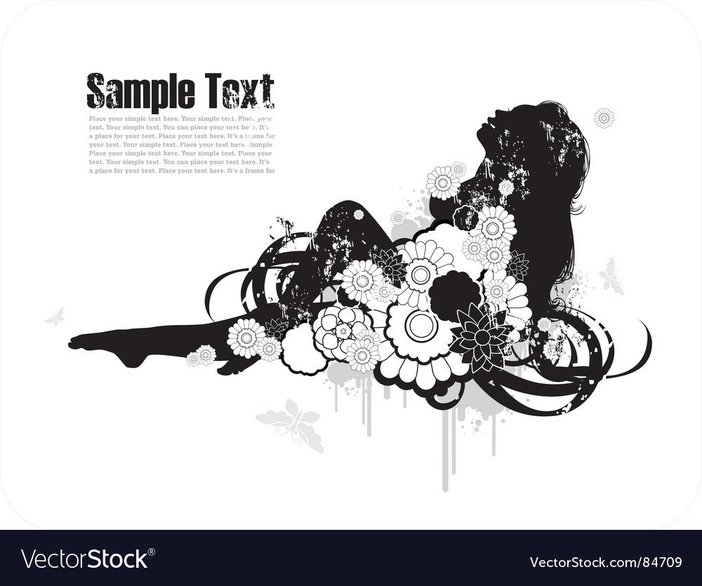 Woman's silhouette among the flowers vector image