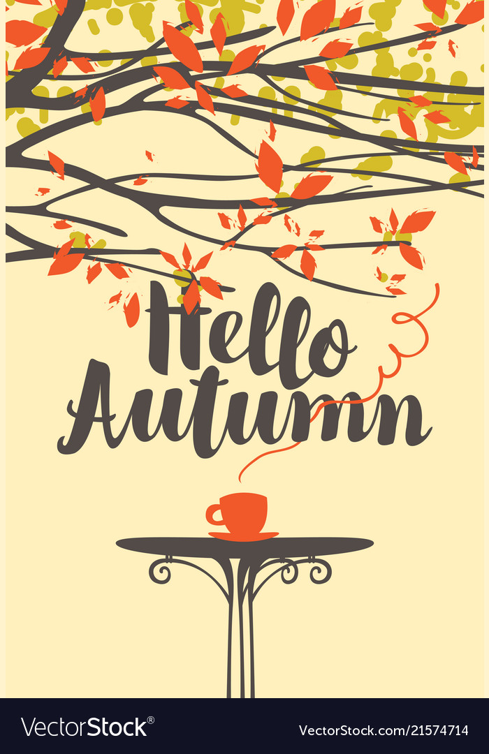 Autumn banner with a cup of hot drink