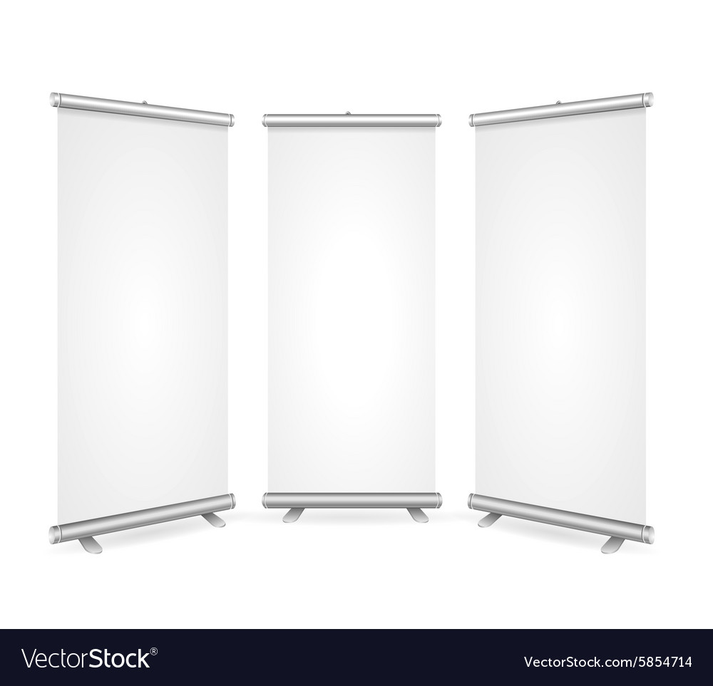 Blank roll up banner 3 display view template