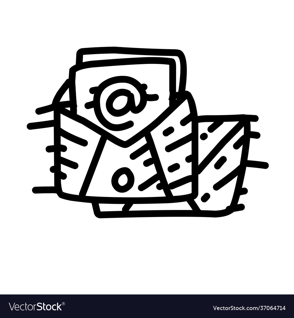 Business email hand drawn icon design outline