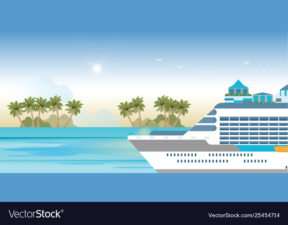 Cruise ship sailing on blue water