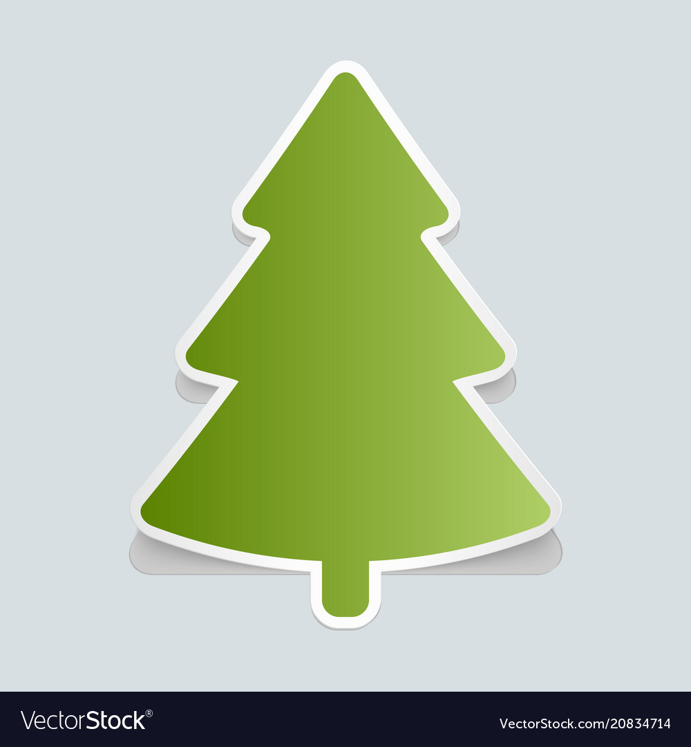 Fir-tree sticker with shadow christmas tree happy
