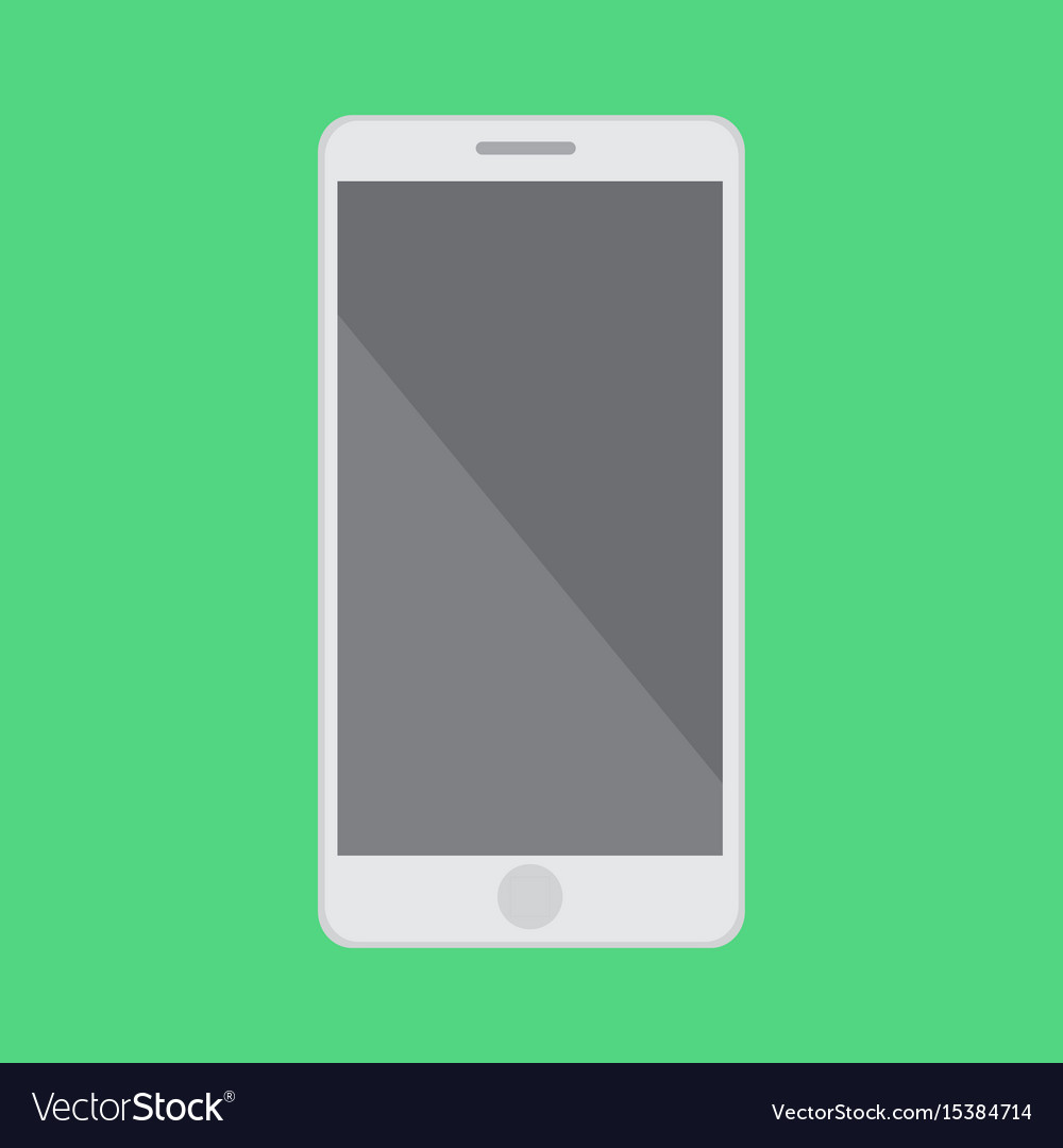 Flat smartphone with isolated green background vector image