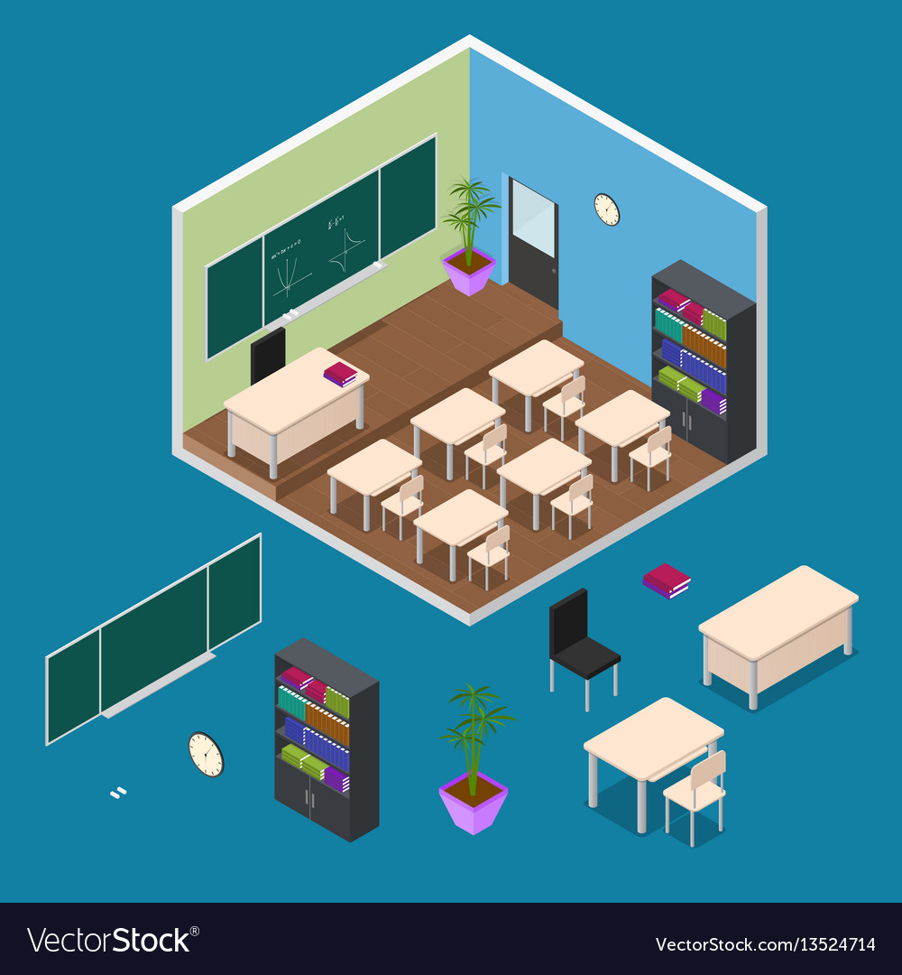 Interior classroom with furniture element