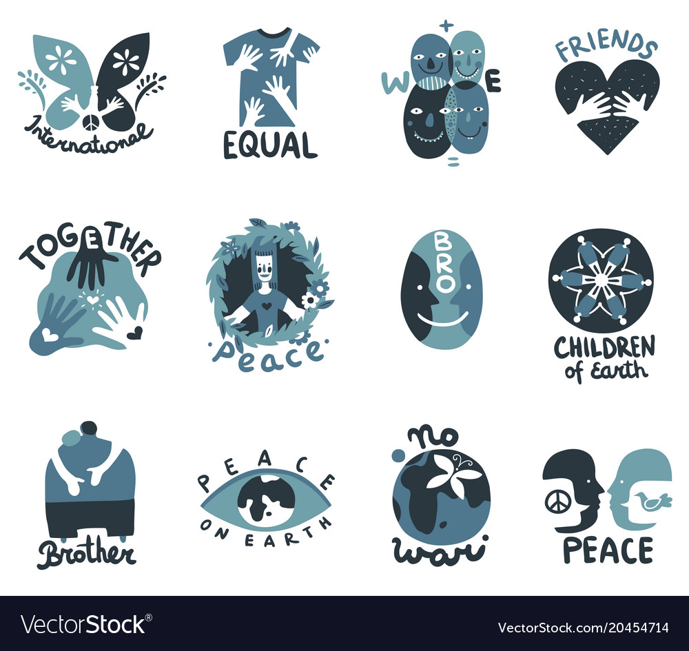 International friendship symbols emblems vector image