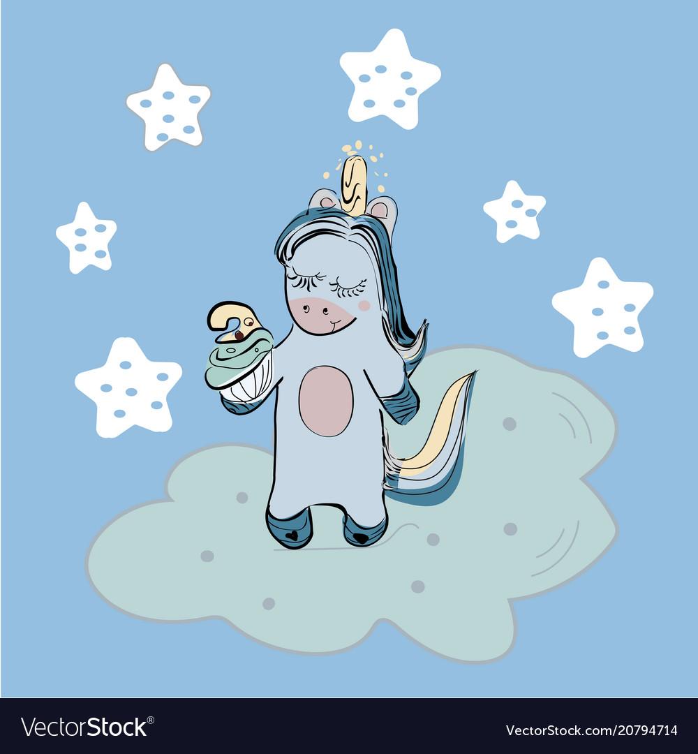Magic background with cute unicorns clouds