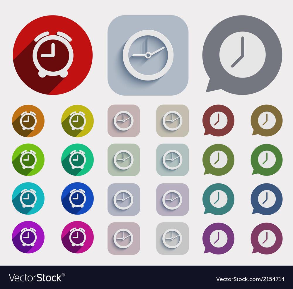 Modern flat time icons set