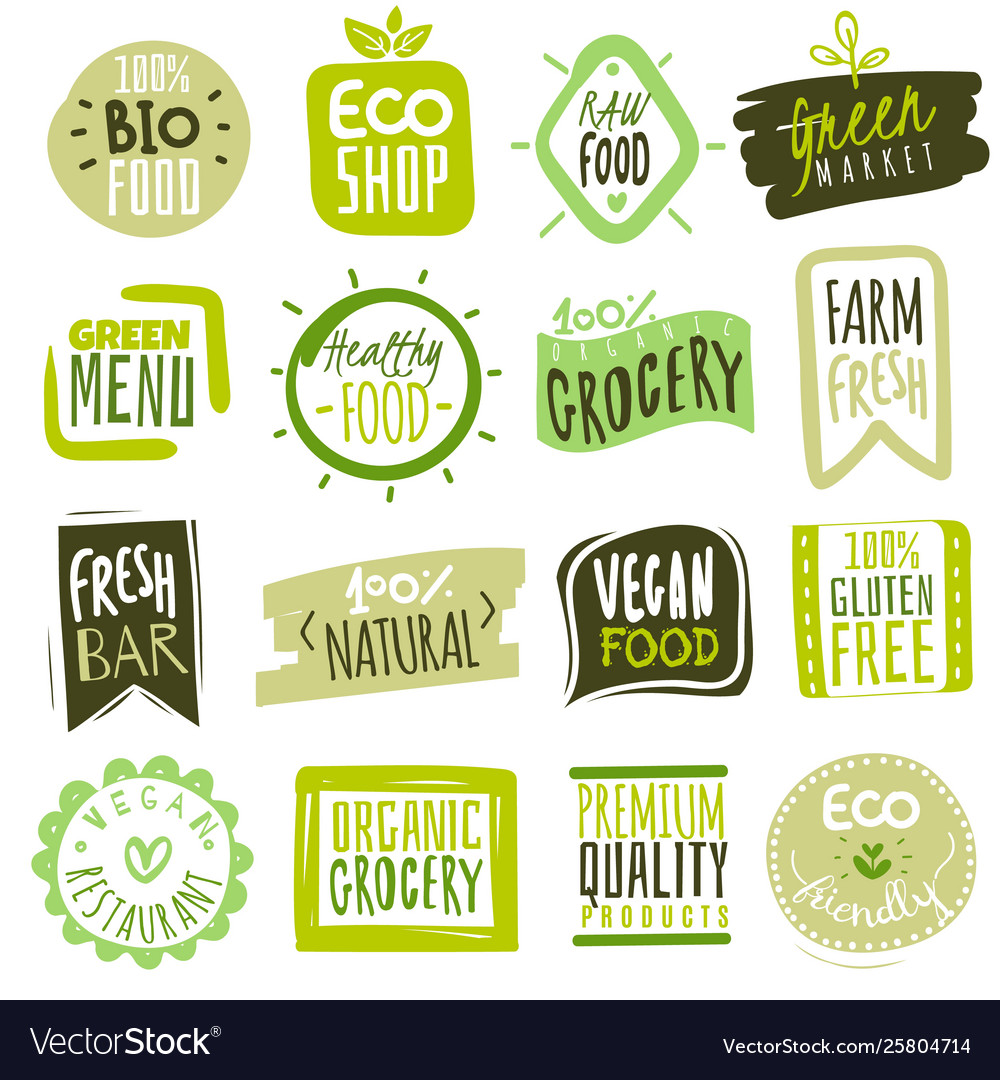 Organic food labels natural meal and fresh