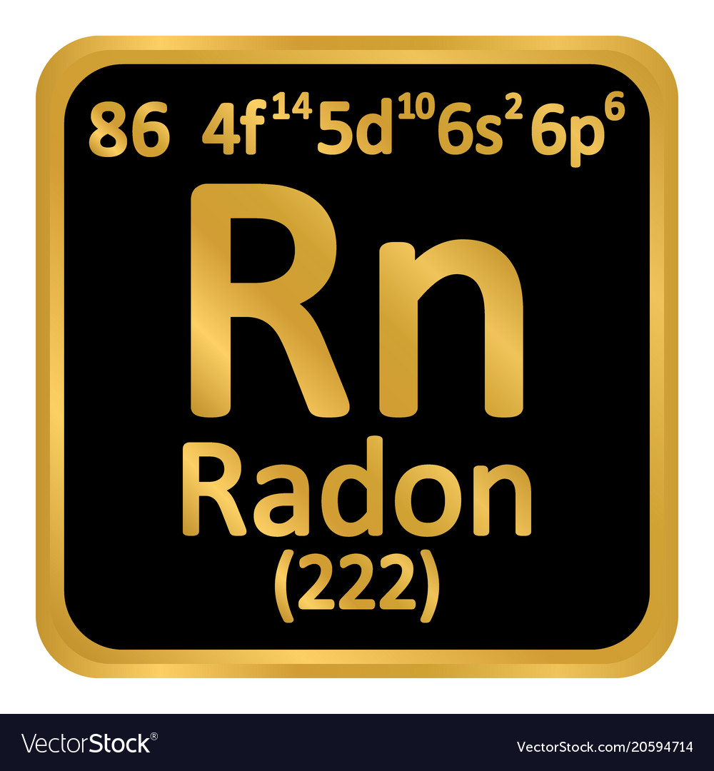 Periodic Table Element Radon Icon Royalty Free Vector Image