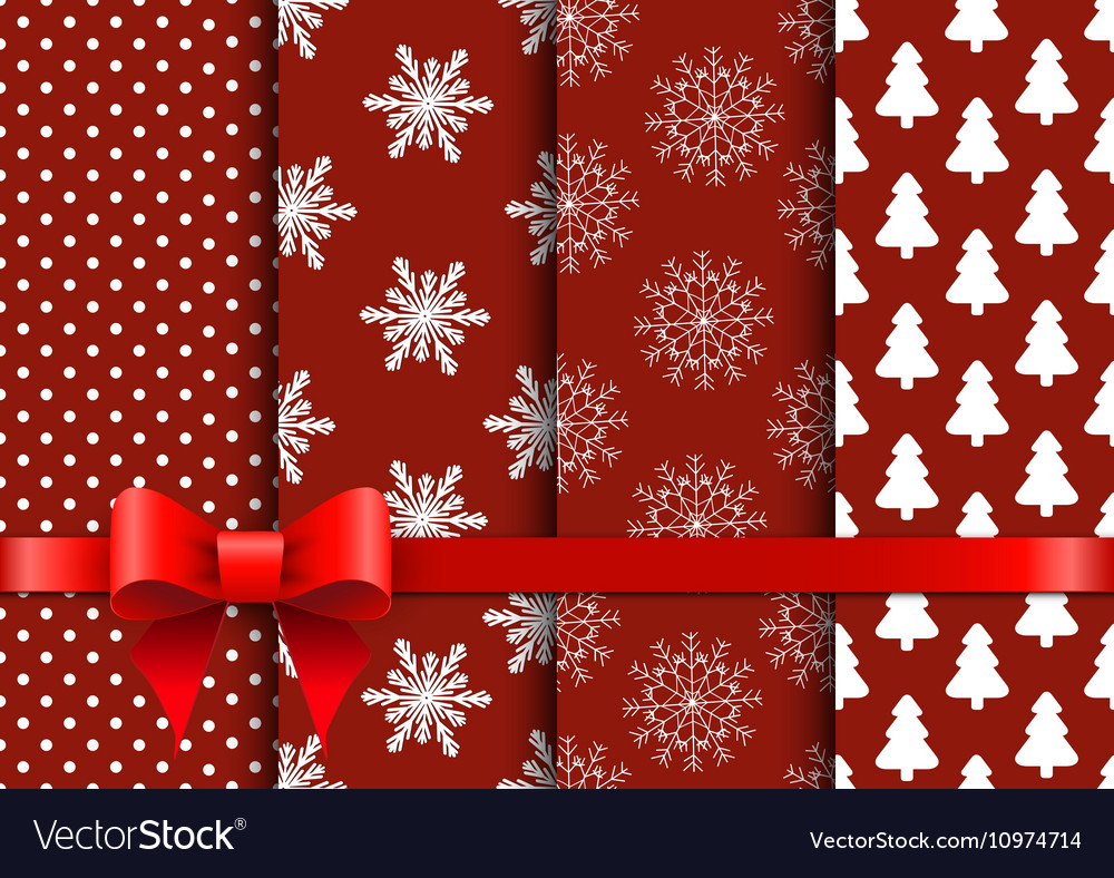 Set christmas red seamless backgrounds