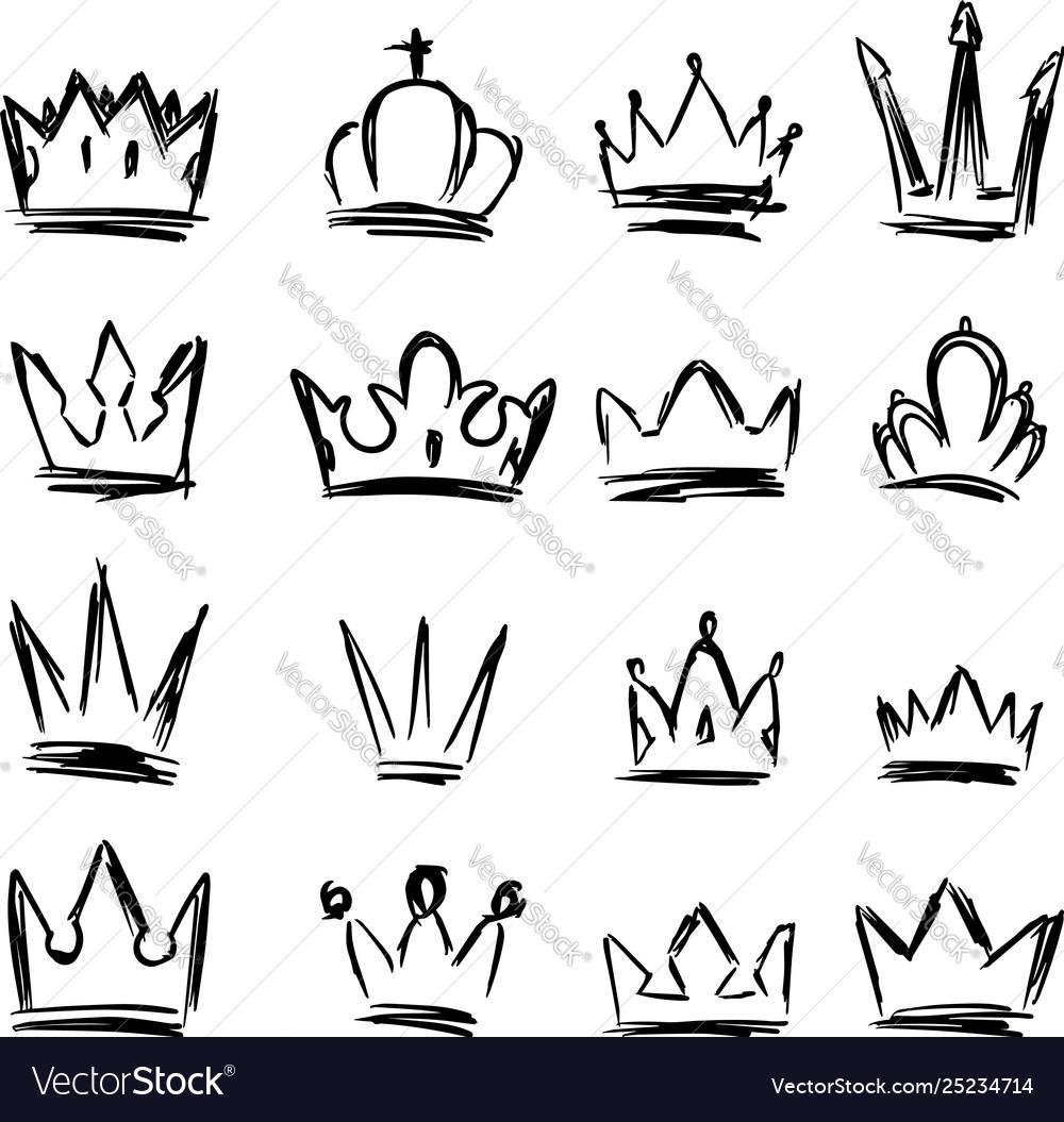 Set hand drawn crown symbols design elements