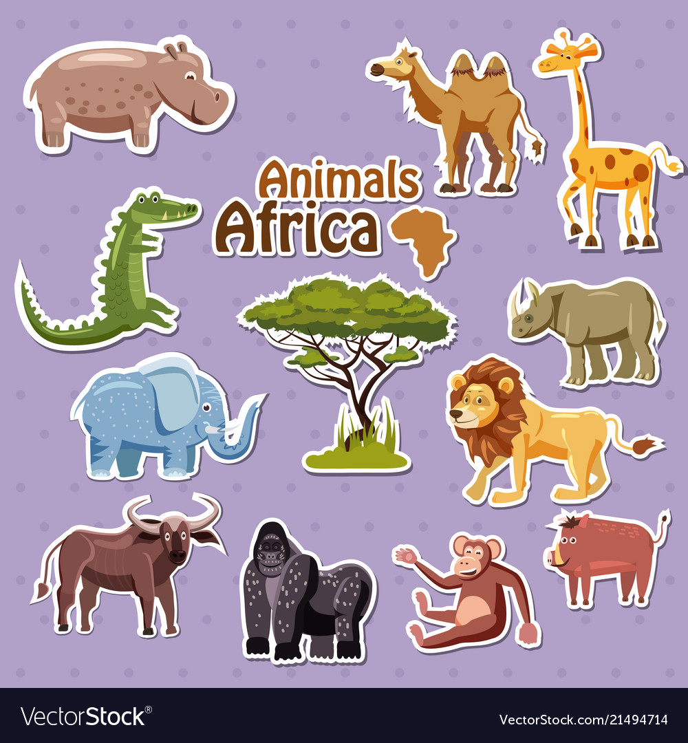 Set of cute african animals stickers cartoon