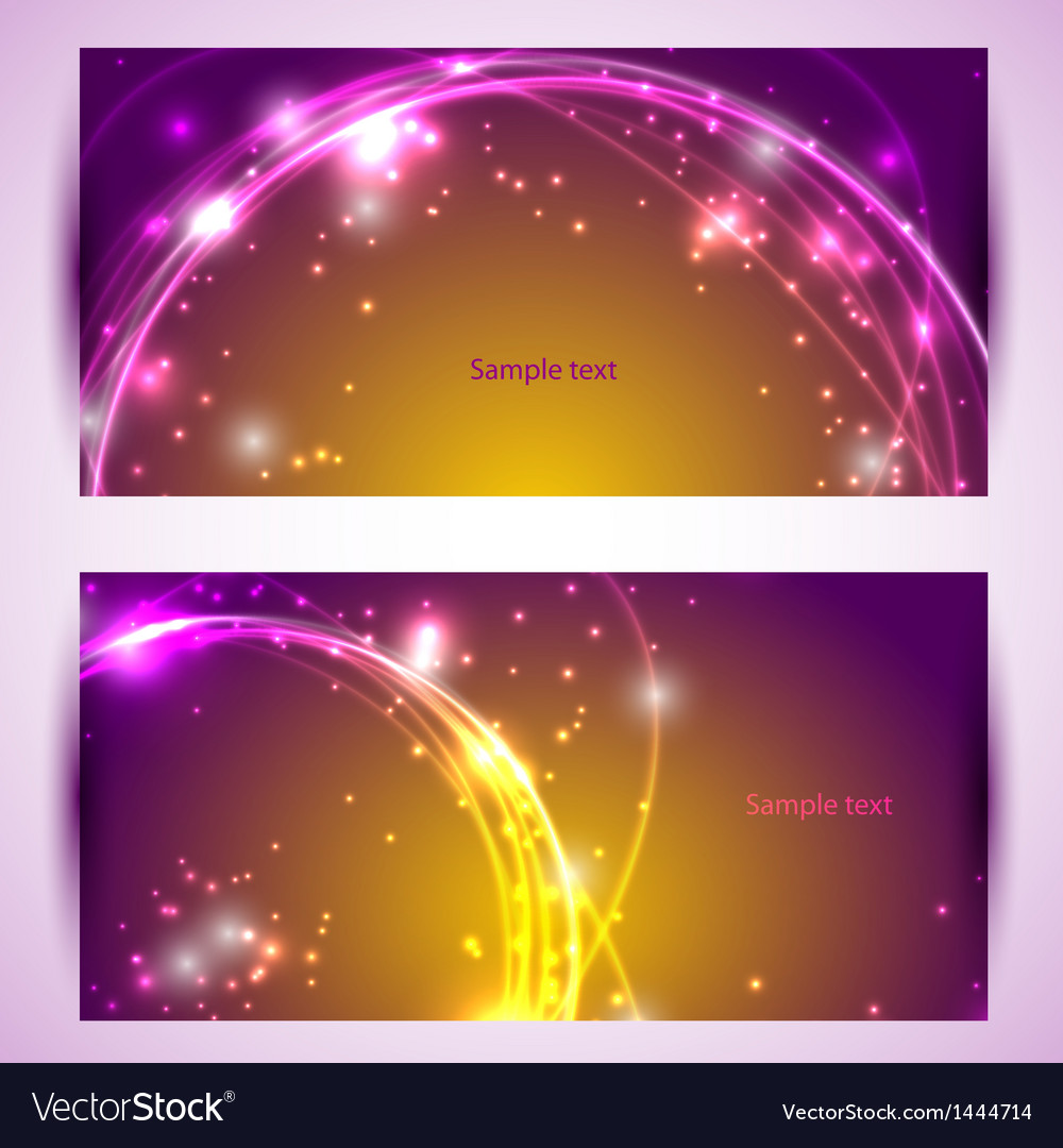 Set of two banners abstract headers with golden