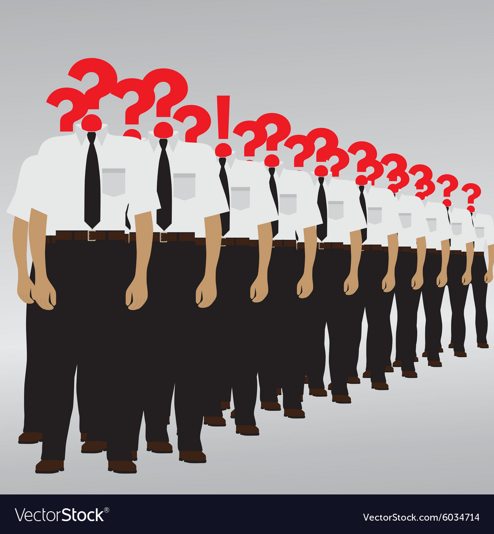 The person with a question and an exclamation mark vector image