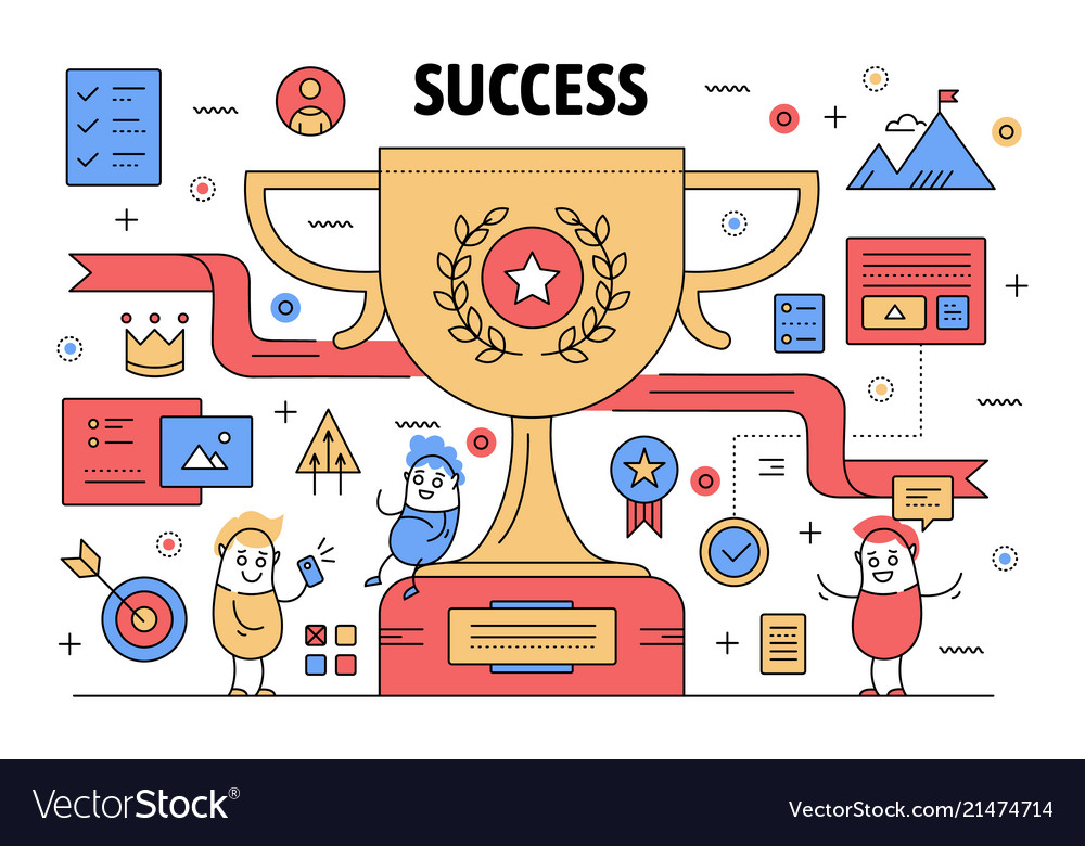 Thin line success poster banner template