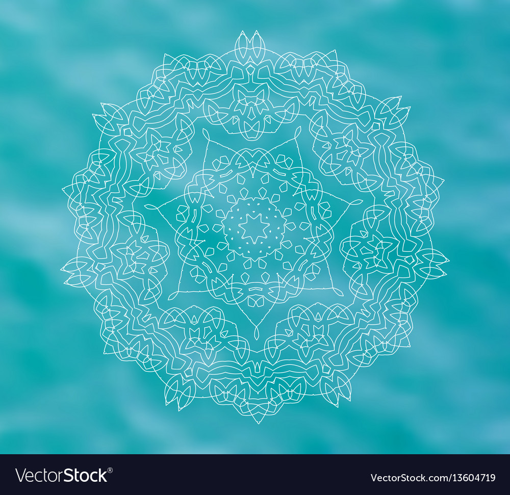 Blue water tribal background with white mandala vector image