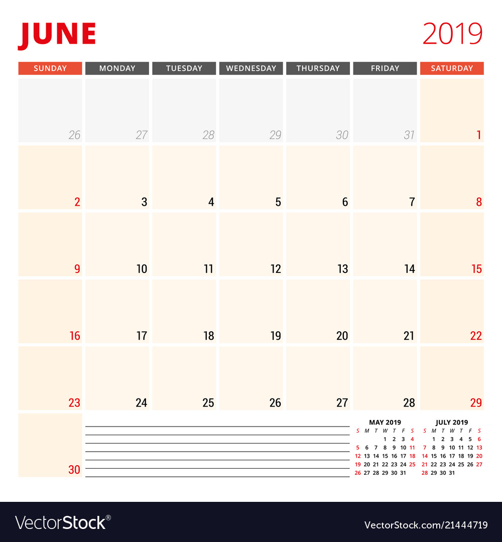 Calendar Planner 2019 Calendar planner template for june 2019 week Vector Image