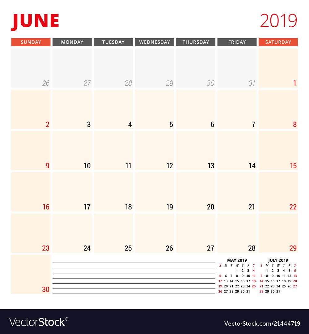 Calendar Planner 2019 Calendar planner template for june 2019 week Vector Image